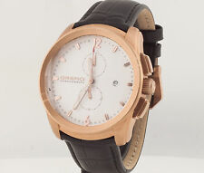NEW Orefici Classico ORM8C4404 Rose Gold Stainless Steel Black Leather Watch