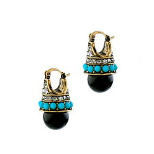 Vintage Gold Plated Rhinestone Art Deco Black Faux Pearl Crystal Stud Earrings
