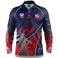 NRL 2020 Long Sleeve Fishing Polo Tee Shirt - Sydney Roosters - Adult Youth