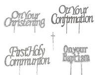 RELIGIOUS OCCASIONS CAKE PICK TOPPER DECORATION  DIAMANTE SPARKLY