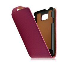 Housse coque étui pour Samsung Galaxy S2 Plus motif gaufre couleur rose fuschia