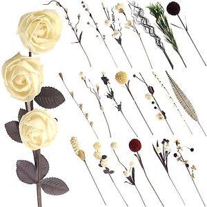Natural Sola Tree Flower Sprays! Soft Dried Artificial Flowers Stem Ivory Cream