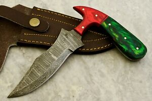 CUSTOM HAND FORGED DAMASCUS STEEL HUNTING SKINNING KNIFE - #W-3538