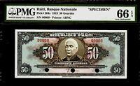 Haiti 50 Gourdes 1919 Specimen PMG 66 EPQ UNC Pick # 204s