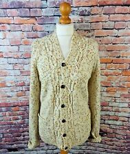 "Vintage cable aran hand knit cardigan M bust 44"" 16 cream wool yellow flecked"