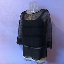 ANN TAYLOR Sheer Lace Crepe Black 3/4 Sleeve Panel Blouse S BEAUTIFUL