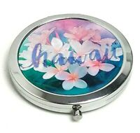 """HAWAII Beautiful Floral Design Silver Plate Vanity Compact Mirror 2 1/2"""""""