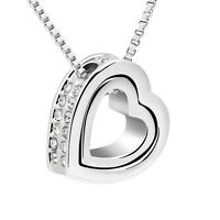 18K White Gold GP Made With Swarovski Crystal Eternal Love Double Heart Necklace