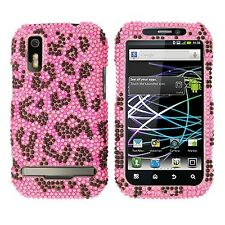 H Pink Leopard Bling Hard Case Cover Motorola Photon 4G