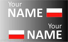 1 Pair Handed Polish Rally Car Name decal sticker graphics  Poland flag