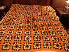 Handcrafted Crochet Afghan Throw Blanket ~  Granny Square orange brown