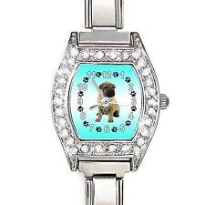 Shar-Pei Dog CZ Ladies Stainless Steel Italian Charm Bracelet Wrist Watch BJ1103