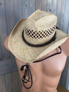 Shady Brady Woven Straw Hat W/ Leather Men's Or Women's Unisex Sz Medium
