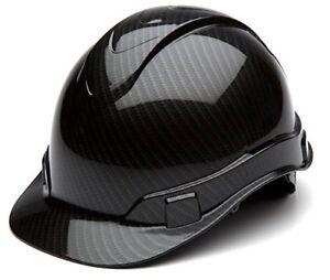 Pyramex HP44117S Ridgeline Graphite Cap Style Shiny Black Hard Hat 4 Pt Ratchet