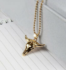 HORSE & WESTERN JEWELLERY JEWELRY COWGIRL LONGHORN NECKLACE - GOLD