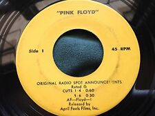 Ultra Rare PInk Floyd 45 : Original Movie Radio Spot Announcements ~ Promo