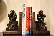 Lesser & Pavey Bronze Singe Globe Motif 2 Serre-livres Evolution Crâne Ornement