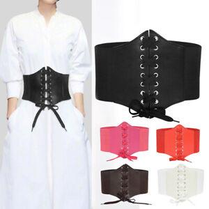 Women ultra Plus wide belt Leather Elastic corset Belt Front Tie up Waist belt ~