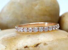 0.38Ct Diamond Half-way Band Micro Pave Diamond Wedding Ring 14k Rose Gold