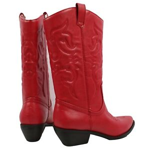 Womens Western Cowboy Pointed Toe Knee High Pull On Tabs Boots Soda RENO-S
