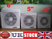 "4"" 5"" 6"" Bathroom Kitchen Toilet Wet Room 100mm 118mm 150mm Extractor Silent Fan"