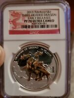 2013 Tuvalu Dragons of Legend Silver Coin NGC PF 70 UC Early Release 1 oz .999