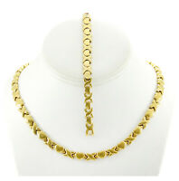 Hugs and Kisses Necklace Bracelet Set Stampato Stainless Steel Gold Tone 18/20''