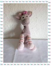 A - Doudou Peluche Girafe Grise Rose Mauve Bebisol Arthur et Lola