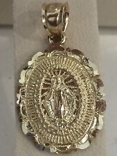 Small Religious 14k Yellow Gold Virgin Mary Medallion Pendant Charm Guadalupe