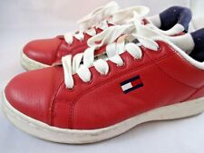 Vintage Tommy Hilfiger Red Leather Womens Sneakers Shoes Sz 7 Spell Out Flag
