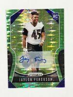 Jaylon Ferguson RC 2019 Panini Prizm Green Pulsar ROOKIE AUTO SP #379 Ravens 🔥