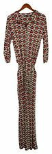 IMAN Global Chic Jumpsuits Sz L Printed Wide-Leg Belted Jumpsuit Red 737121P73