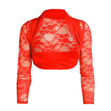 Womens Cropped Lace Shrug Ladies Bolero Cardigan Top  (513)
