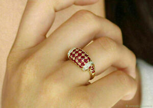 2.00 Ct Round Cut Red Ruby Cluster Engagement Ring 14k Yellow Gold Over