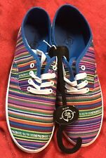 Sole Mates Women Slip On Sneaker Shoe Sz M 7/8 Casual Flat Rainbow Multi-Colored