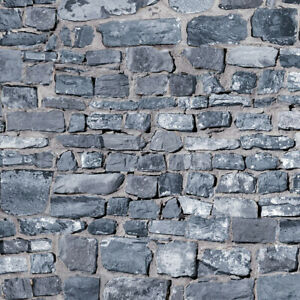 A3 Embossed Grey Stone Wall, Dolls House Miniature