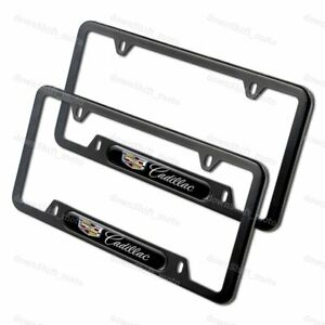 2PCS For CADILLAC Black Metal Stainless Steel License Plate Frame NEW