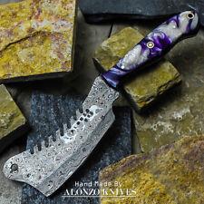 ALONZO USA CUSTOM HANDMADE DAMASCUS MINI CLEAVER  KNIFE CORELON HANDLE 16500