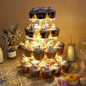 4-Tiers Cupcake Stand LED Light Cake Display Holder Tower Birthday Wedding Party