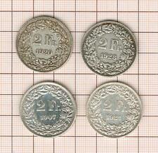 Suisse  ,  4* 2 francs argent 1907 1920 1921 1928