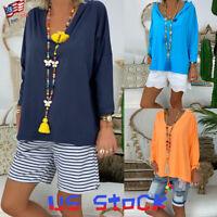 Women Hoodie Loose T-Shirt Blouse Long Sleeve Pullover Casual Sweatshirt Tops US