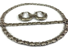 "Hugs and Kisses Stampato Necklace XOXO Womens Silver Bracelet 18"" Earrings Set"