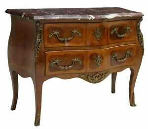 Commode, French Louis XV Style Marble-Top Mahogany, Floral Marquetry, Gilt Metal