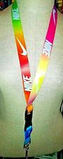 NIKE MULTI COLOR  LANYARD KEY-CHAIN REVERSIBLE ID holder with safety clip