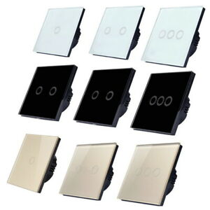 1/2/3Gang Smart LED Light Touch Switch Crystal Glass Panel Wall Screen Decor Hot
