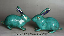 "6"" Old Tibet Buddhism Bronze turquoise Zodiac Year Animal Rabbit Sculpture Pair"
