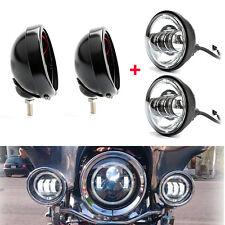 "2x Black 4.5"" LED Auxiliary Fog Light + Outer Cover Housing Bracket For Harley"