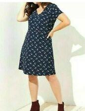 LOFT Ann Taylor Womans Dress Sz 22 Navy Blue Feather Print V-Neck Stretch