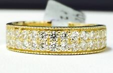 Solid 14K Yellow Gold Fancy 2 Row Round Cut Cubic Zirconia Ring CZ Band, Sz 9.5