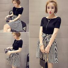 Women's Korean Style Fashion Short Tops + Striped Dress Leisure 2 Pieces Suit